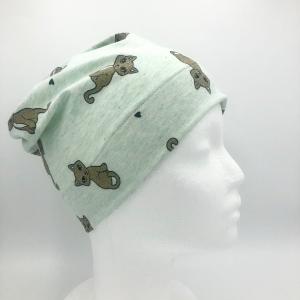 Mütze, KU 52 - 56 cm,  Beanie, einlagig, Kindermütze, Glitzer Katze, von Mausbär - Handarbeit kaufen