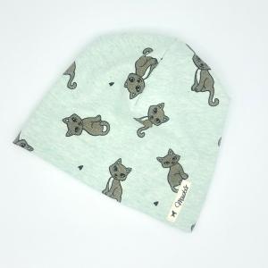 Mütze, Beanie , einlagig, Kindermütze, Glitzer Katze, KU 45 - 47 cm, von Mausbär - Handarbeit kaufen