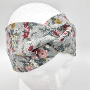 Stirnband, Haarband , Bandeau , Boho-Stirnband 54 - 56 cm, Sweat, graumelange mit Blumen
