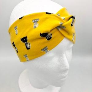 Stirnband, KU 54 - 56cm, Haarband, Bandeau, Boho-Stirnband, senf, mit Katzen - Handarbeit kaufen