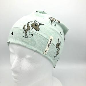 Mütze, Beanie , einlagig, Kindermütze, mint ,Glitzer Einhorn , KU 50 - 53 cm, von Mausbär