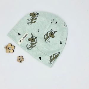 Mütze, Beanie , einlagig, Sommermütze, mint ,Glitzer Einhorn , KU 39 - 42 cm, von Mausbär