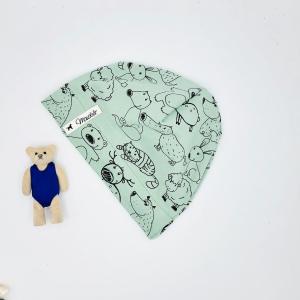Mütze, Beanie , einlagig, Sommermütze, mint ,Tiere , KU 39 - 42 cm, von Mausbär - Handarbeit kaufen