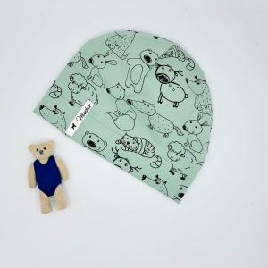 Mütze, Beanie , einlagig, Sommermütze, mint ,Tiere , KU 43 - 46 cm, von Mausbär - Handarbeit kaufen