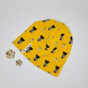Mütze, KU 43 - 46 cm, Beanie , einlagig, Sommermütze, senf ,Katzen, von Mausbär - Handarbeit kaufen