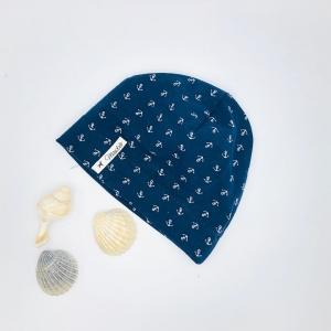 Mütze, Beanie , einlagig, Sommermütze, blau  ,Anker, KU 43 - 46 cm, von Mausbä - Handarbeit kaufen