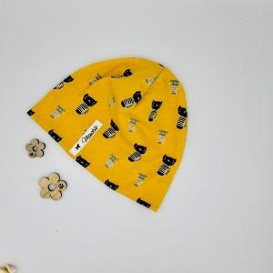 Mütze, Beanie , einlagig, Sommermütze, senf ,Katzen, KU 40 - 43 cm, von Mausbär - Handarbeit kaufen