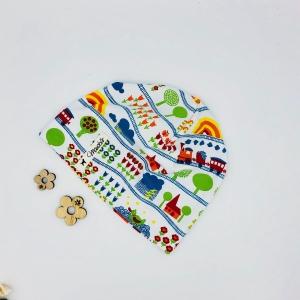 Mütze, KU 40 - 43 cm, Beanie , einlagig, Sommermütze, weiß , bunt, von Mausbär - Handarbeit kaufen