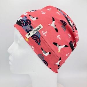 Mütze, Beanie , einlagig, Sommermütze, rot, Leuchtturm , KU 50 - 53 cm, von Mausbär - Handarbeit kaufen