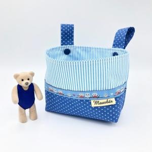 Kinder Lenkertasche für Puky, Laufrad, Roller, Dreirad , Kinderwagen, blau, von Mausbär - Handarbeit kaufen