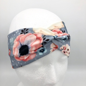 Stirnband, Haarband , Bandeau , Boho-Stirnband 48 - 53 cm, Rotkehlchen, Blumen auf hellgrau  - Handarbeit kaufen