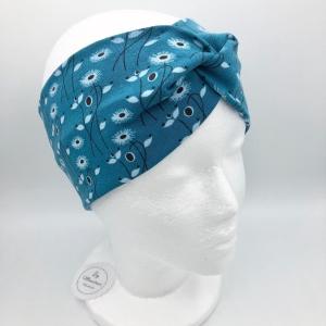 Stirnband, Haarband , Bandeau , Boho-Stirnband  48 - 53 cm, petrol , Blumenranken