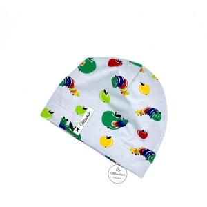 Mütze, Beanie , einlagig, Sommermütze, grau, kleine Raupe, KU 39 - 41 cm, von Mausbär - Handarbeit kaufen