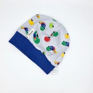 Mütze, KU 47 - 49cm, Bündchenmütze, Babymütze , grau, kleine Raupe, von Mausbär - Handarbeit kaufen