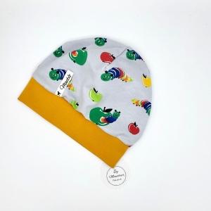 Mütze, Bündchenmütze, Babymütze , grau, kleine Raupe, KU 47 - 49cm, von Mausbär - Handarbeit kaufen