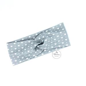 Stirnband, Haarband , Bandeau , Boho-Stirnband  47 - 50 cm, hellgrau mit Herzen von Mausbär