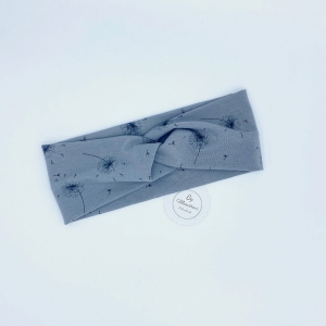 Stirnband, Haarband , Bandeau , Boho-Stirnband  37 - 41  cm, grau mit  Pusteblumen - Handarbeit kaufen