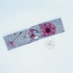 Haarband, KU 46 - 50 cm, Kinderhaarband, Knotenband, grau mit weinroten Pusteblumen - Handarbeit kaufen