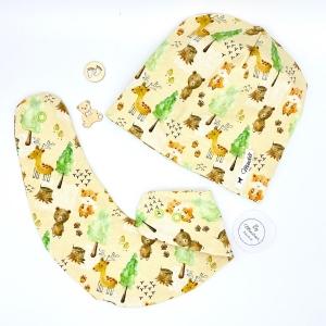 Mütze und Tuch, KU 39 - 43cm , Set für Baby, Halstuch + Mütze, Waldtiere , von Mausbär - Handarbeit kaufen