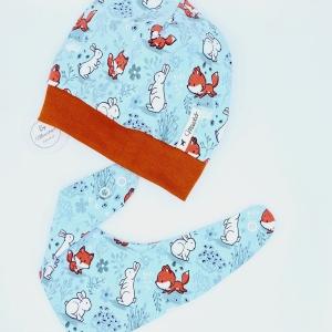 Mütze und Tuch, KU 43 - 46 cm, Halstuch + Mütze, mint, für Baby von Mausbär - Handarbeit kaufen
