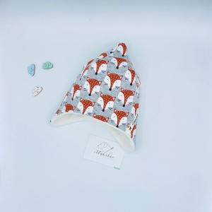 Zipfelmütze, KU 40 - 41 cm, Zwergenmütze, Babymütze, grau meliert, von Mausbär - Handarbeit kaufen