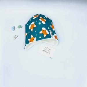 Öhrchenmütze, Wintermütze, Babymütze, 35 - 39 cm, Fuchs, petrol, von Mausbär - Handarbeit kaufen