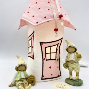 Bezug für Nachtlicht, Kinderzimmerlampe, Tischleuchte, Kinderlampe , Wichtelhäuschen, von Mausbär - Handarbeit kaufen