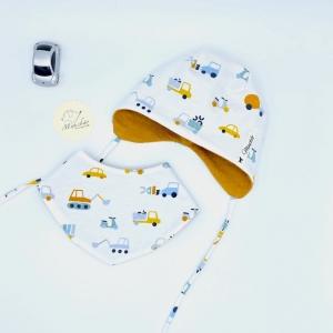 Mütze + Tuch, Neugeborenen Set , KU 36 - 38cm ,Halstuch + Öhrchenmütze,  von Mausbär
