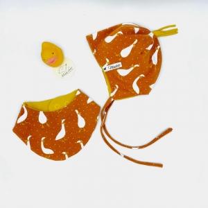 Mütze + Tuch, Neugeborenen Set , KU 38 - 40 cm , von Mausbär - Handarbeit kaufen