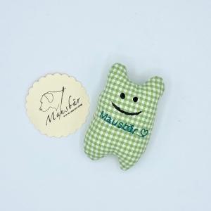 Taschenmausbär, Taschenfreund, Trösterle, kleiner Freund, Grünkariert, von Mausbär - Handarbeit kaufen