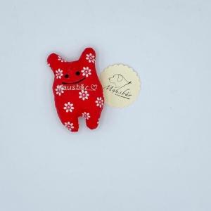 Taschenmausbär, Taschenfreund, Trösterle, kleiner Freund, Rotweiß, von Mausbär - Handarbeit kaufen
