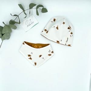 Mütze + Tuch, KU 34 - 38 cm , Neugeborenen Set, Mohnbluhmen, von Mausbär - Handarbeit kaufen