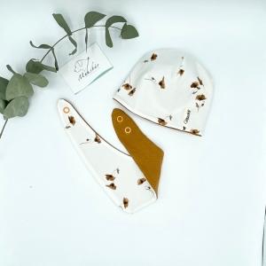 Mütze + Tuch, KU 39 . 42 cm, Neugeborenen Set, Mohnblume, von Mausbär - Handarbeit kaufen
