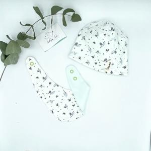 Mütze + Tuch, KU 39 - 42 cm, Neugeborenen Set, graue Blätter,  von Mausbär - Handarbeit kaufen
