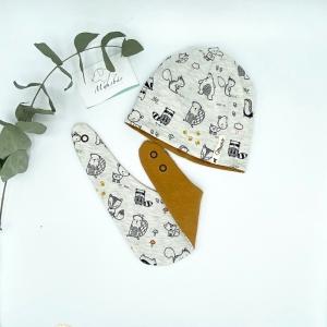 Mütze + Tuch, KU 39 - 42 cm , Neugeborenen Set, Tierfreunde, von Mausbär - Handarbeit kaufen