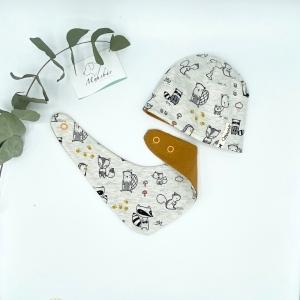 Mütze + Tuch, KU 34 - 38 cm , Neugeborenen Set, Tierfreunde,  von Mausbär - Handarbeit kaufen