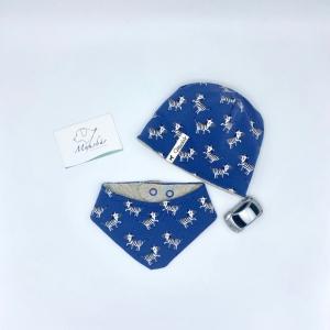 Mütze + Tuch, KU 34 - 38 cm, Neugeborenen Set, Zebra,  von Mausbär - Handarbeit kaufen