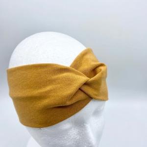 Stirnband, KU 54 - 57 cm,Haarband , Bandeau , Boho-Stirnband, Curry, von Mausbär - Handarbeit kaufen