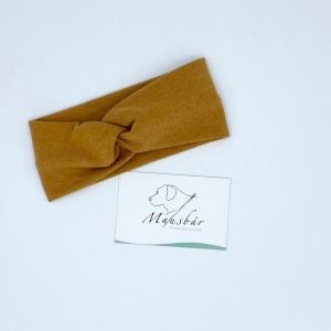 Stirnband, Haarband , Bandeau , Baby-Stirnband  31 - 34 cm, Curry, von Mausbär - Handarbeit kaufen