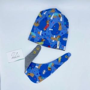 Mütze + Tuch, Neugeborenen Set , KU 39 - 42 cm, Dackel, von Mausbär - Handarbeit kaufen