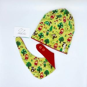 Mütze + Tuch, Neugeborenen Set , KU 40 /43 cm, Rotkäppchen, von Mausbär - Handarbeit kaufen