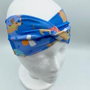 Stirnband, KU 38-42 cm, Haarband, Bandeau , Boho-Stirnband, Dackel, von Mausbär - Handarbeit kaufen
