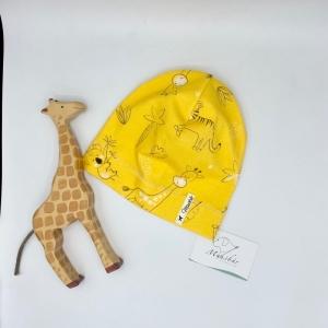 Mütze, KU 43 - 46cm, Beanie , einlagig, gelb, Safari, von Mausbär - Handarbeit kaufen