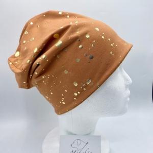 Beanie, Wendebeanie, Mütze,KU 54-57cm, Rost mit goldenen Tupfen, von Mausbär