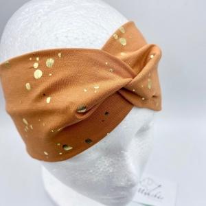 Stirnband, KU 54 - 57 cm, Haarband , Bandeau , Boho-Stirnband, Rost mit goldenen Tupfen, von Mausbär  - Handarbeit kaufen