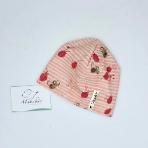 Mütze, KU 34 - 38 cm, Beanie , einlagig, Sommermütze, Erdbeermaus, von Mausbär   - Handarbeit kaufen