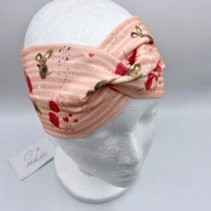 Stirnband, KU 54 -56 cm, Haarband , Bandeau , Boho-Stirnband, Erdbeermaus, von Mausbär - Handarbeit kaufen