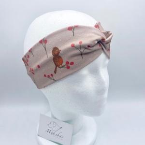 Stirnband, KU 48 - 53 cm, Haarband , Bandeau , Boho-Stirnband, Vögelchen, von Mausbär  - Handarbeit kaufen
