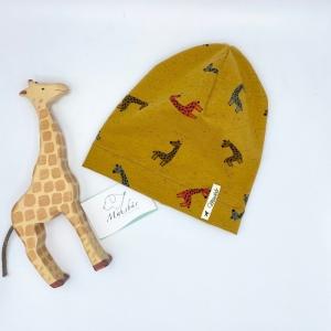 Mütze, KU 43 - 46 cm, Beanie, einlagig, Sommermütze, Giraffe, von Mausbär  - Handarbeit kaufen