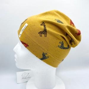 Mütze, KU 48 - 50 cm, Beanie, einlagig, Sommermütze, Giraffe, von Mausbär
